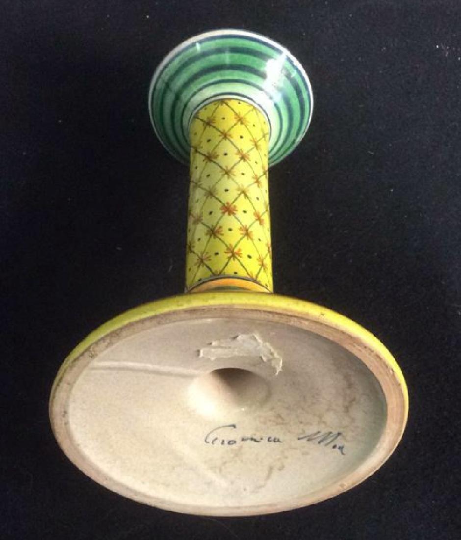 Bright Handpainted Pottery Candlesticks Deruta Italy - 7