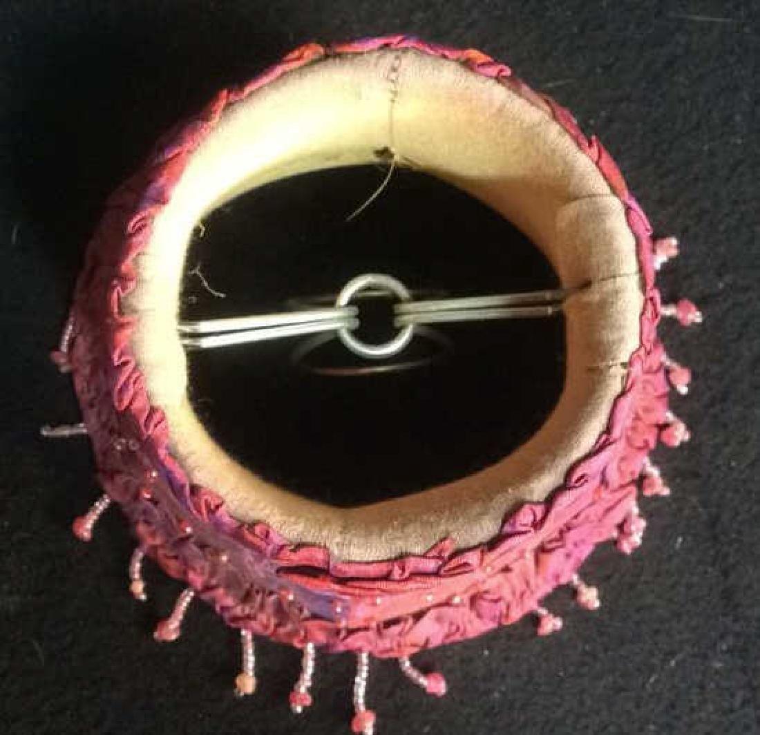 4 Mini Vintage Beaded Silk Clamp On Lamp Shades Group - 4