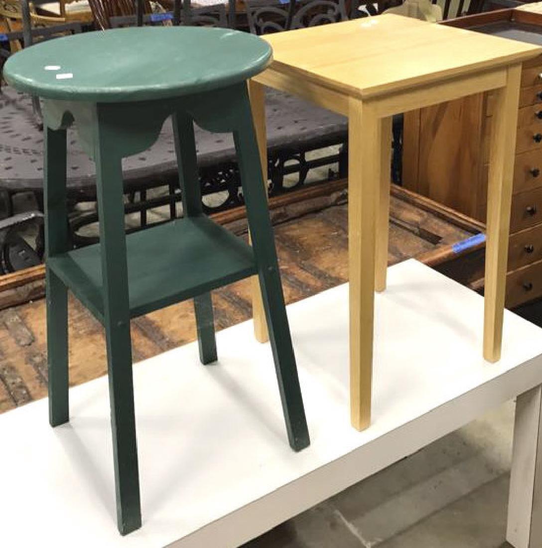 2 Vintage Style Wood Corner Tables 2 Vintage Style Wood