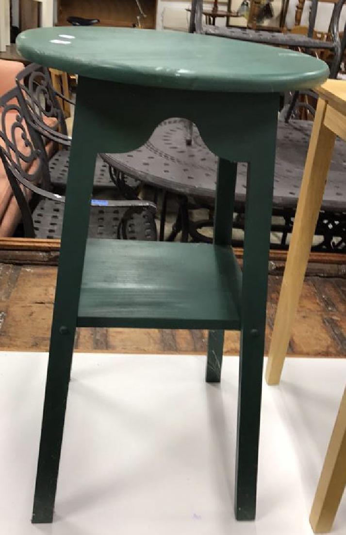 2 Vintage Style Wood Corner Tables 2 Vintage Style Wood - 6