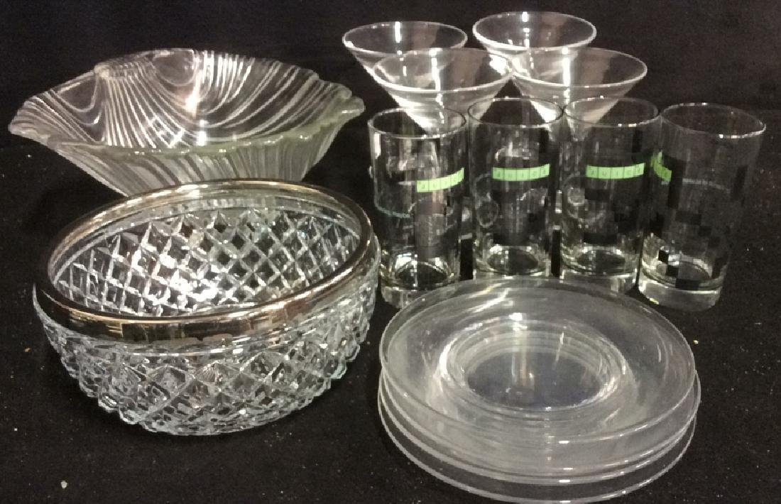 Group Lot Glass Bowls Plates Barware Stems Group Lot