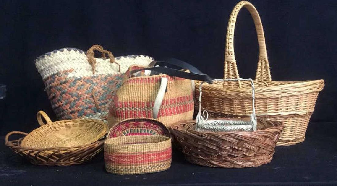 Group Woven Bags Baskets and Baskets Two Wicker bags