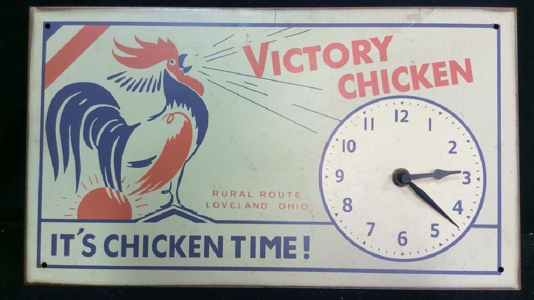 Vintage Chicken Time Sign and Clock Vintage painted or