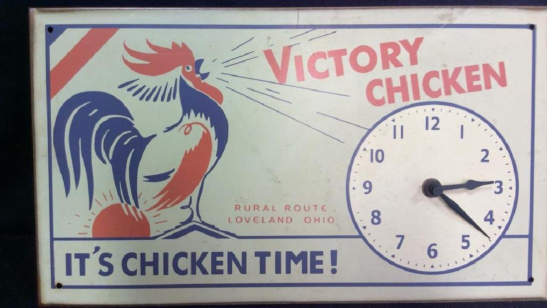 Vintage Chicken Time Sign and Clock Vintage painted or - 7