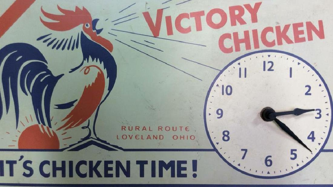 Vintage Chicken Time Sign and Clock Vintage painted or - 9