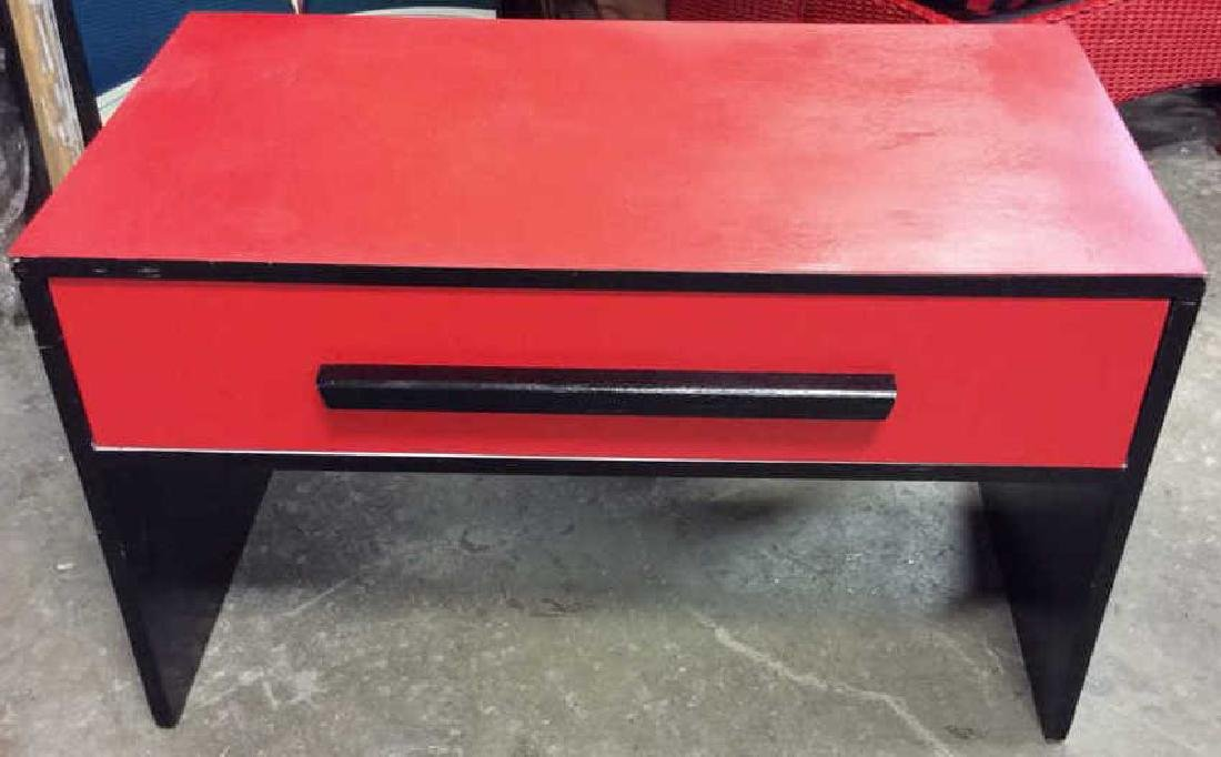 Mid Painted Red Black Low Table Graphic pop red black