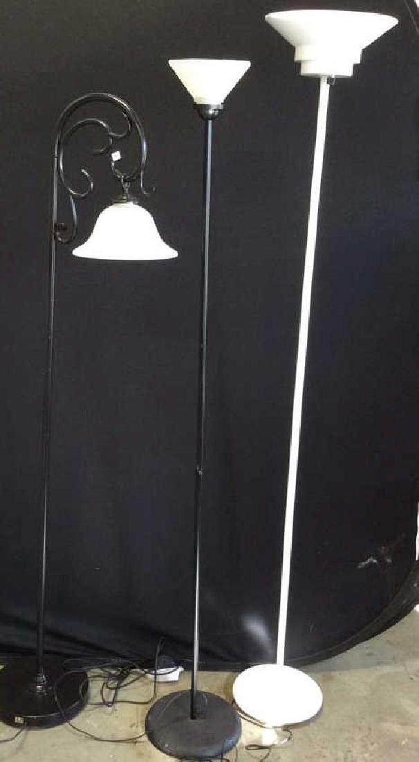 3 Vintage Floor Lamps White metal standing lamp with - 2