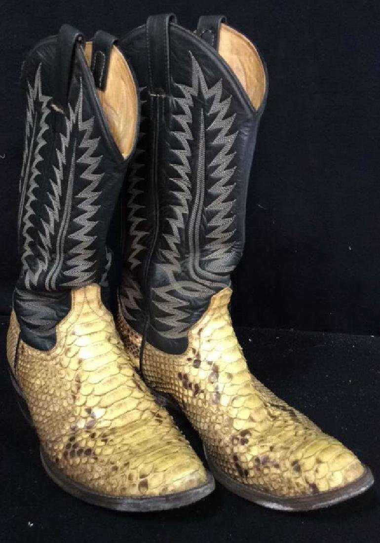 Tooled Leather and Snake Skin  Cowboy Boots Inside