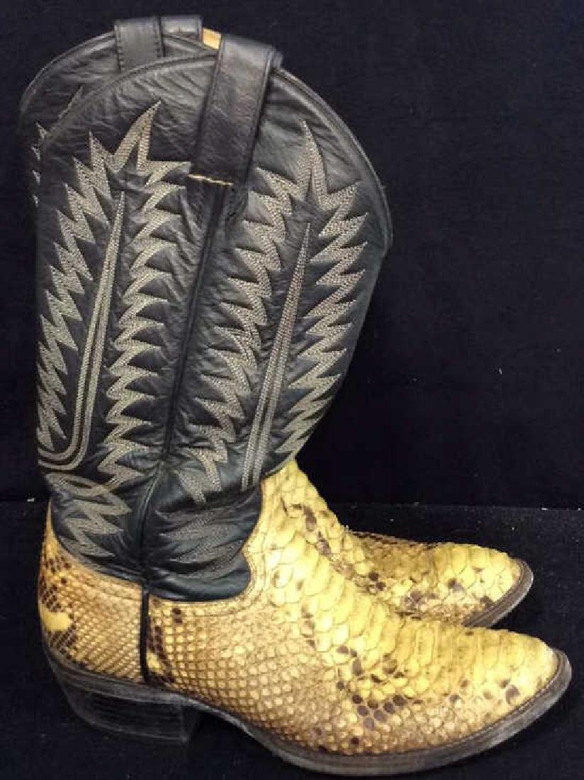 Tooled Leather and Snake Skin  Cowboy Boots Inside - 2