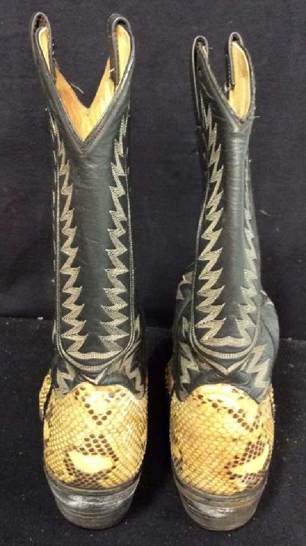 Tooled Leather and Snake Skin  Cowboy Boots Inside - 3