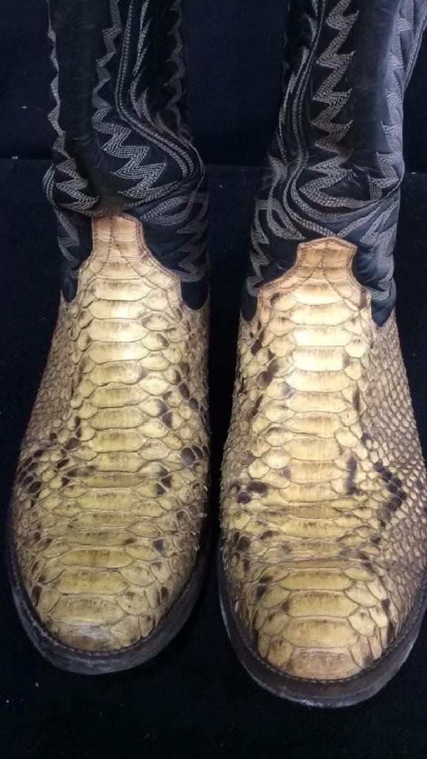 Tooled Leather and Snake Skin  Cowboy Boots Inside - 6