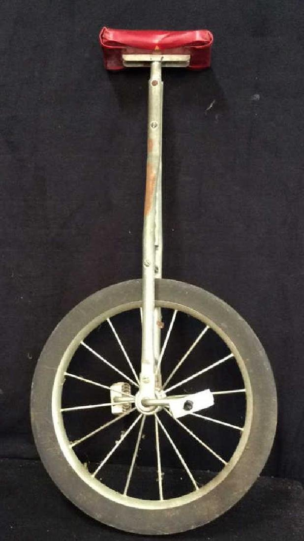 C 1960's Extendable Unicycle Vintage Red leather seat