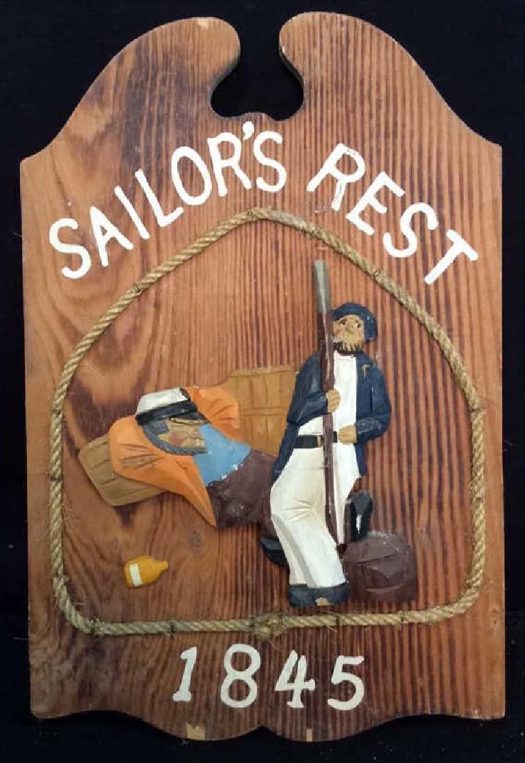 Vintage Carved Painted Sailors Rest Sign Carved wood