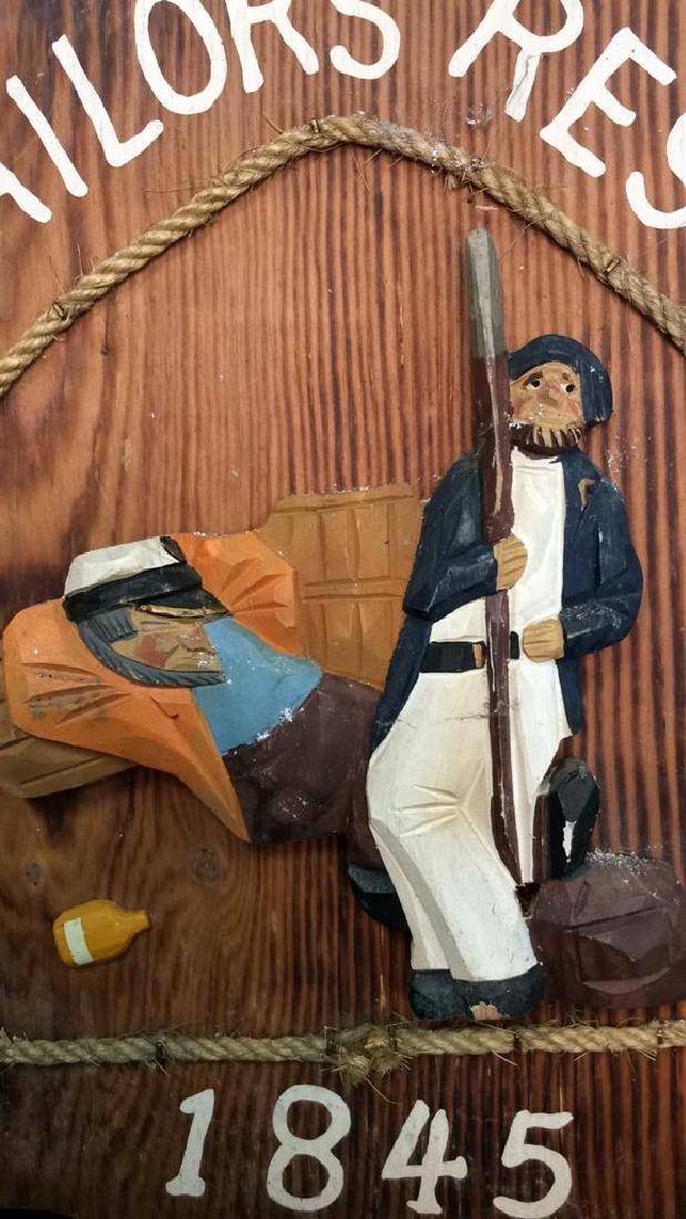 Vintage Carved Painted Sailors Rest Sign Carved wood - 2