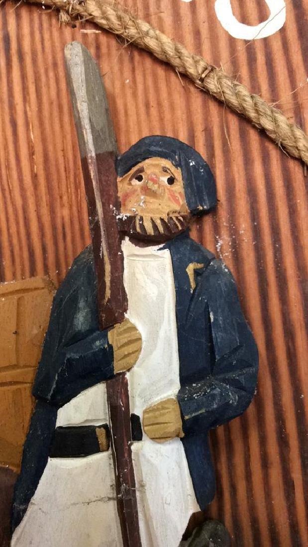 Vintage Carved Painted Sailors Rest Sign Carved wood - 3
