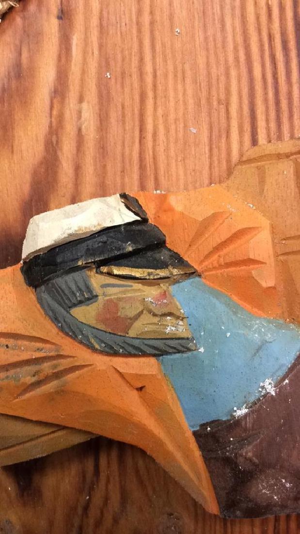 Vintage Carved Painted Sailors Rest Sign Carved wood - 4