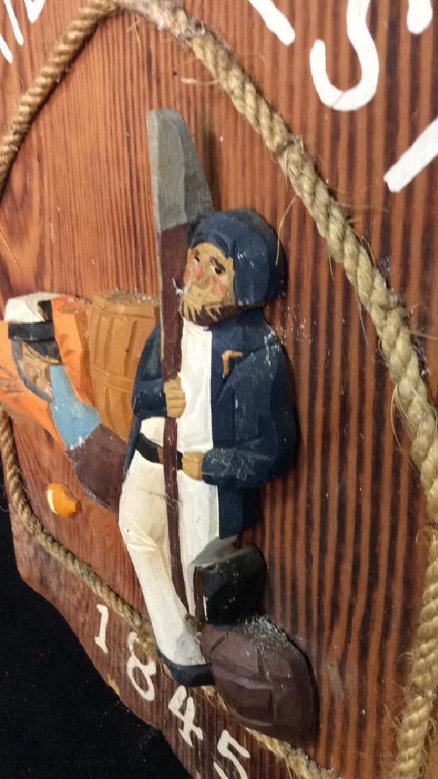 Vintage Carved Painted Sailors Rest Sign Carved wood - 6
