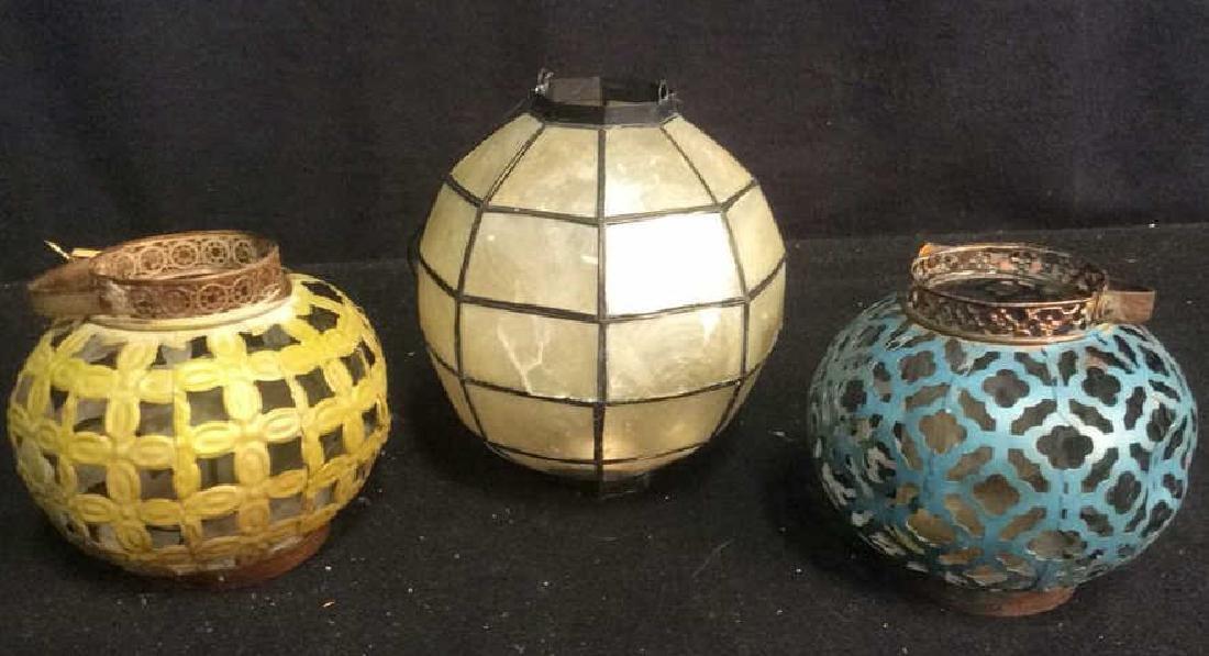 7 Metal Candle Holder Lanterns Group of metal filigree - 3