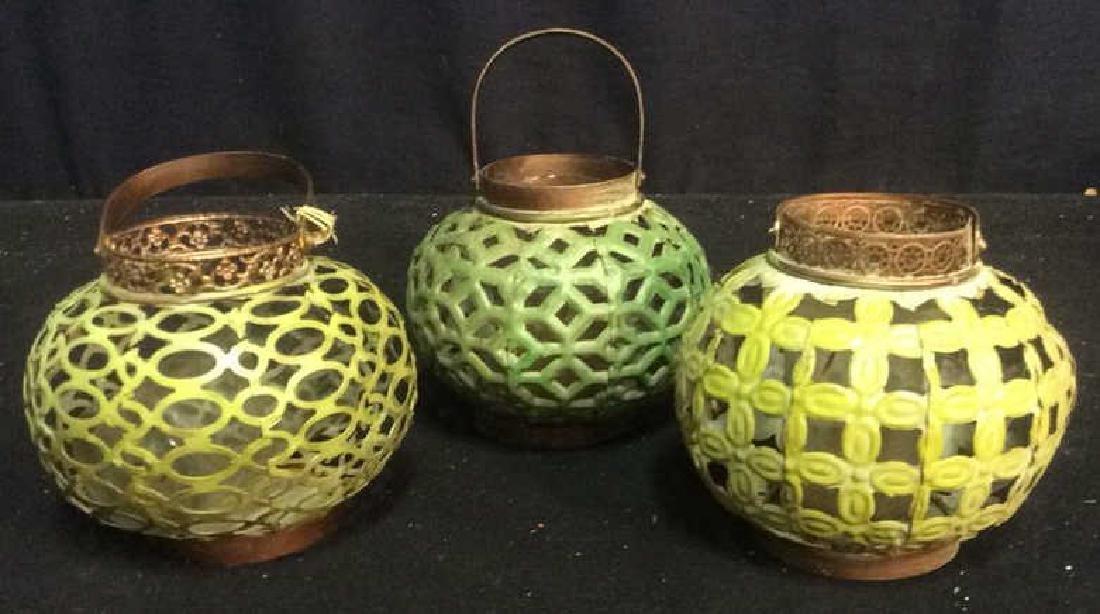 7 Metal Candle Holder Lanterns Group of metal filigree - 4
