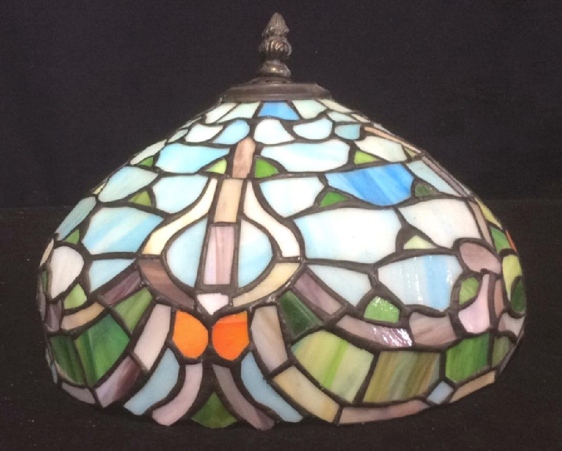 Tiffany Style Stained Glass Table Lamp Shade Greens and