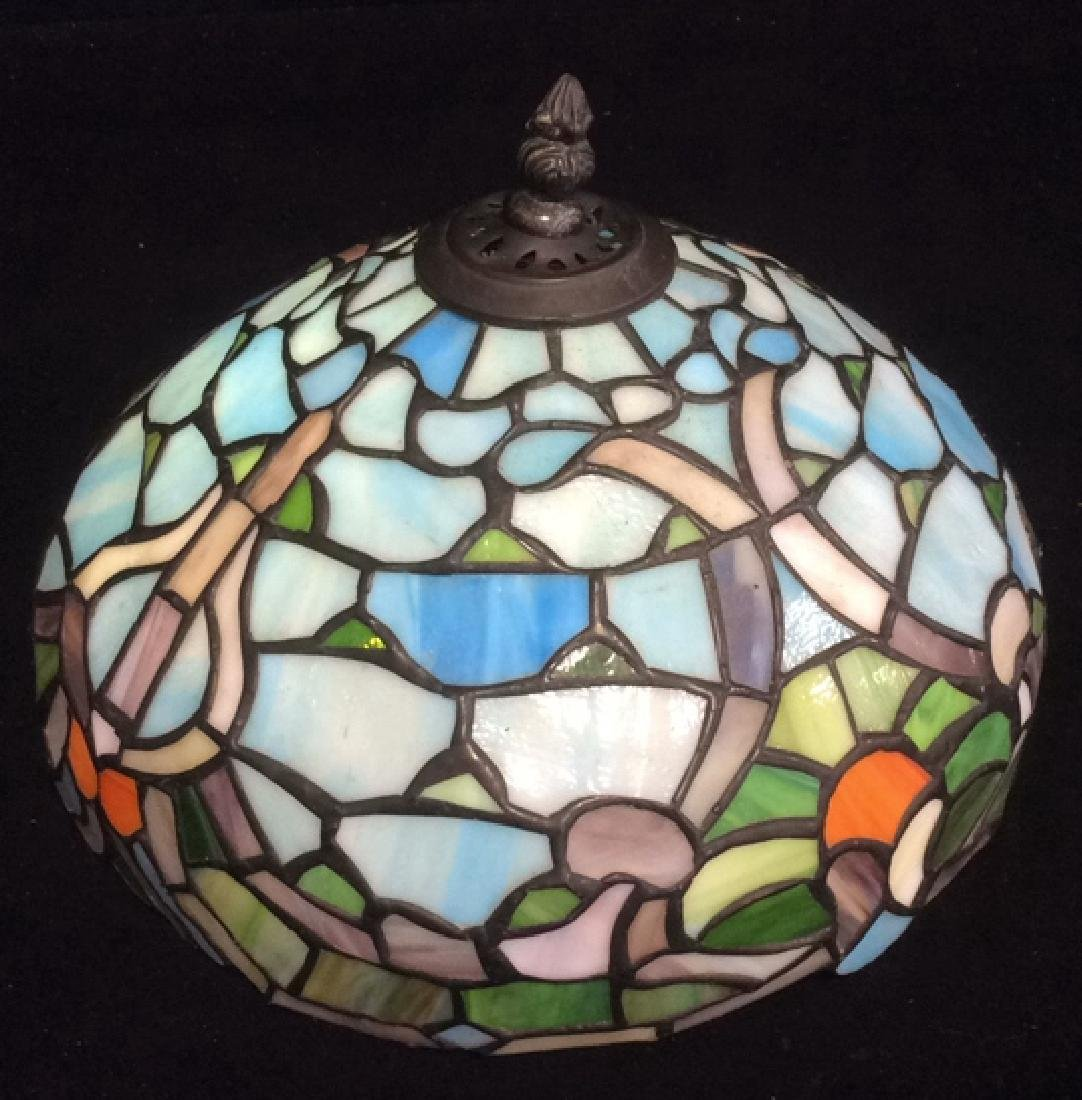 Tiffany Style Stained Glass Table Lamp Shade Greens and - 2