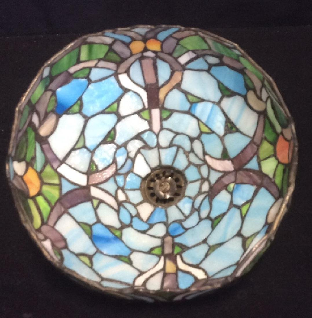 Tiffany Style Stained Glass Table Lamp Shade Greens and - 3