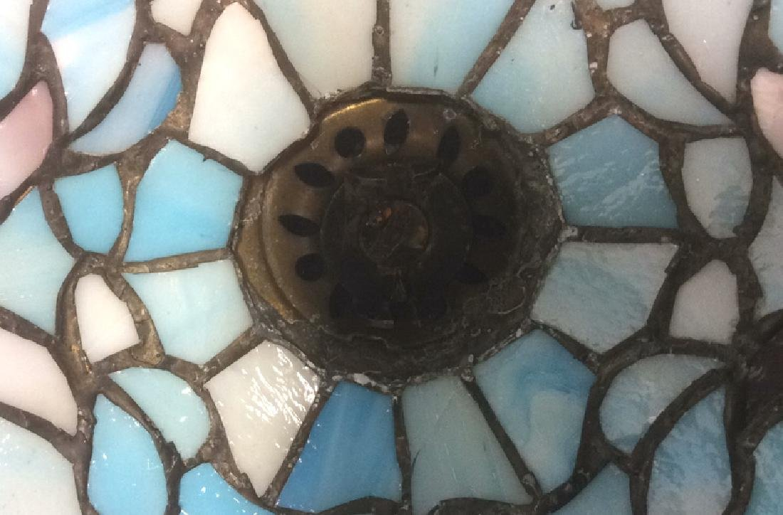 Tiffany Style Stained Glass Table Lamp Shade Greens and - 5