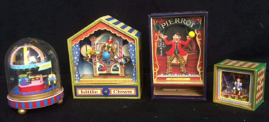 Group of 4 Clown Theme Music Boxes Animated and - 2