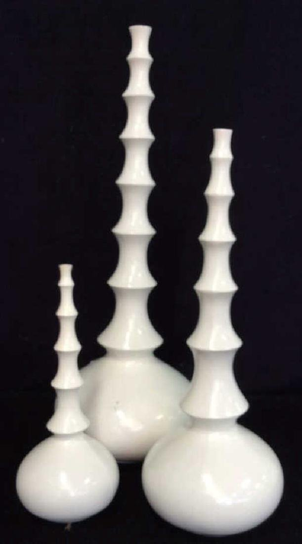3 Carved white Wood Vases L'objet D'art Labeled Two's