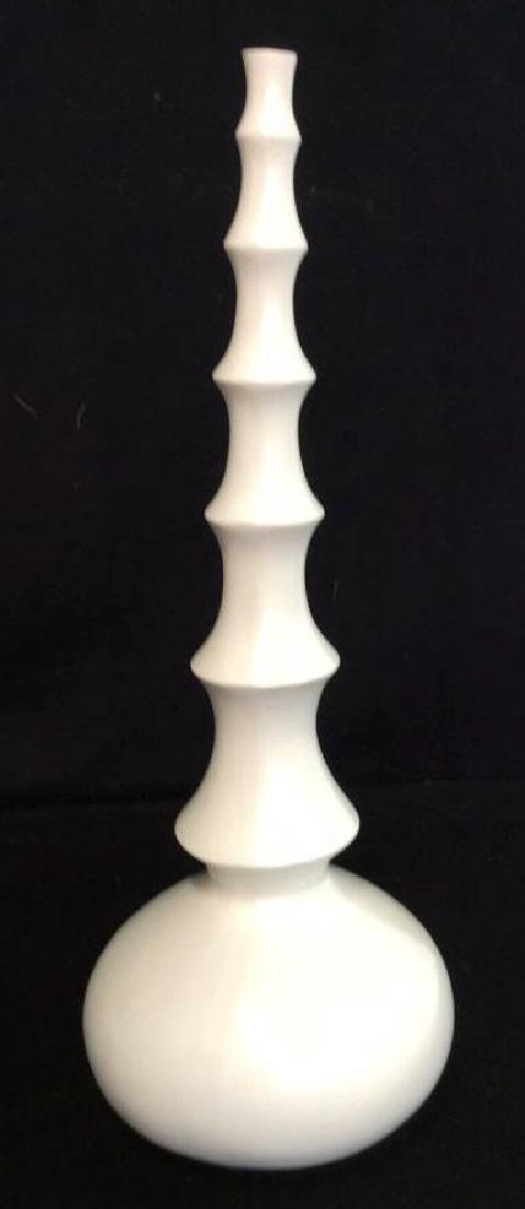 3 Carved white Wood Vases L'objet D'art Labeled Two's - 2
