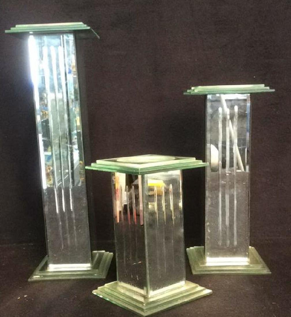 3 Mirrored Pillar Candle Holders Group of 3