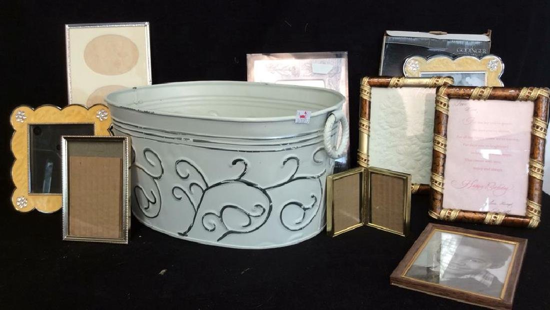 Metal Bucket of Picture Frames White tole metal bucket