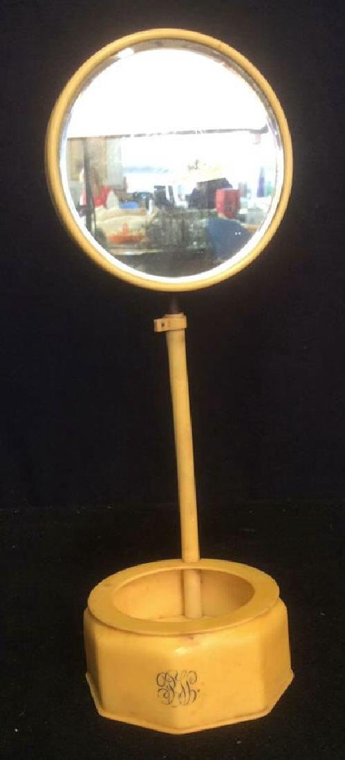 Bakelite Vanity Mirror With Bowl Dish Base Unique
