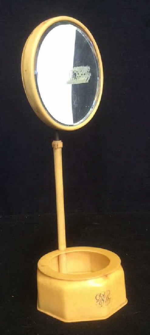 Bakelite Vanity Mirror With Bowl Dish Base Unique - 2