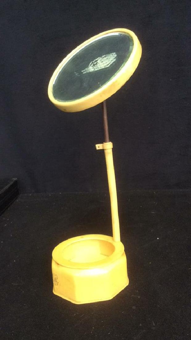 Bakelite Vanity Mirror With Bowl Dish Base Unique - 9