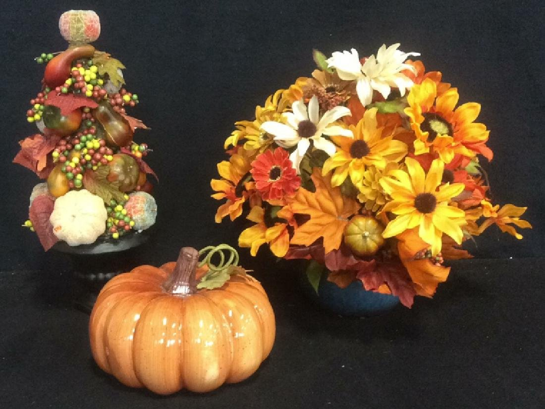 Group of Autumn Decor Ceramic pumpkin, Autumn vegetable