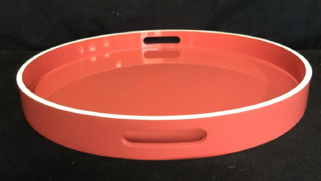 West Elm Coral Lacquer Tray Round lacquer Tray with - 2