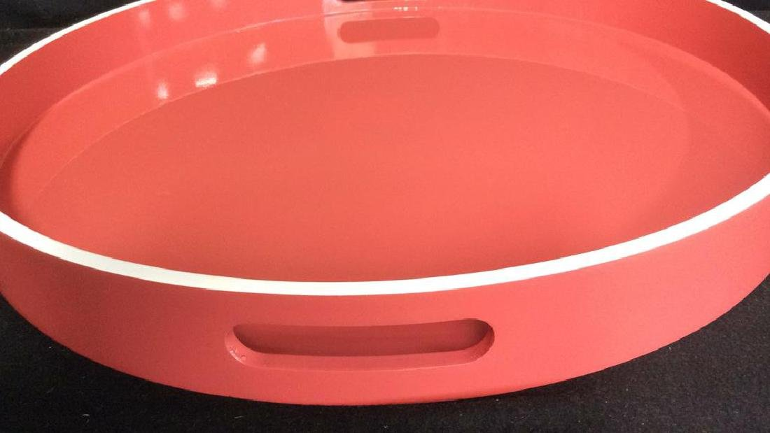 West Elm Coral Lacquer Tray Round lacquer Tray with - 3