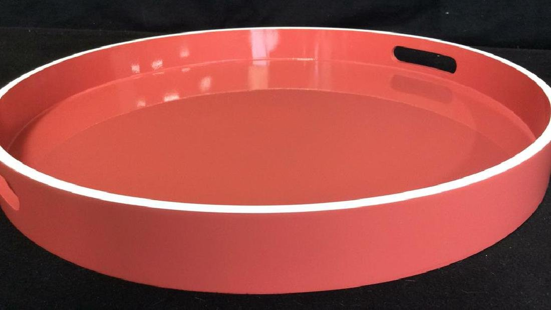 West Elm Coral Lacquer Tray Round lacquer Tray with - 6