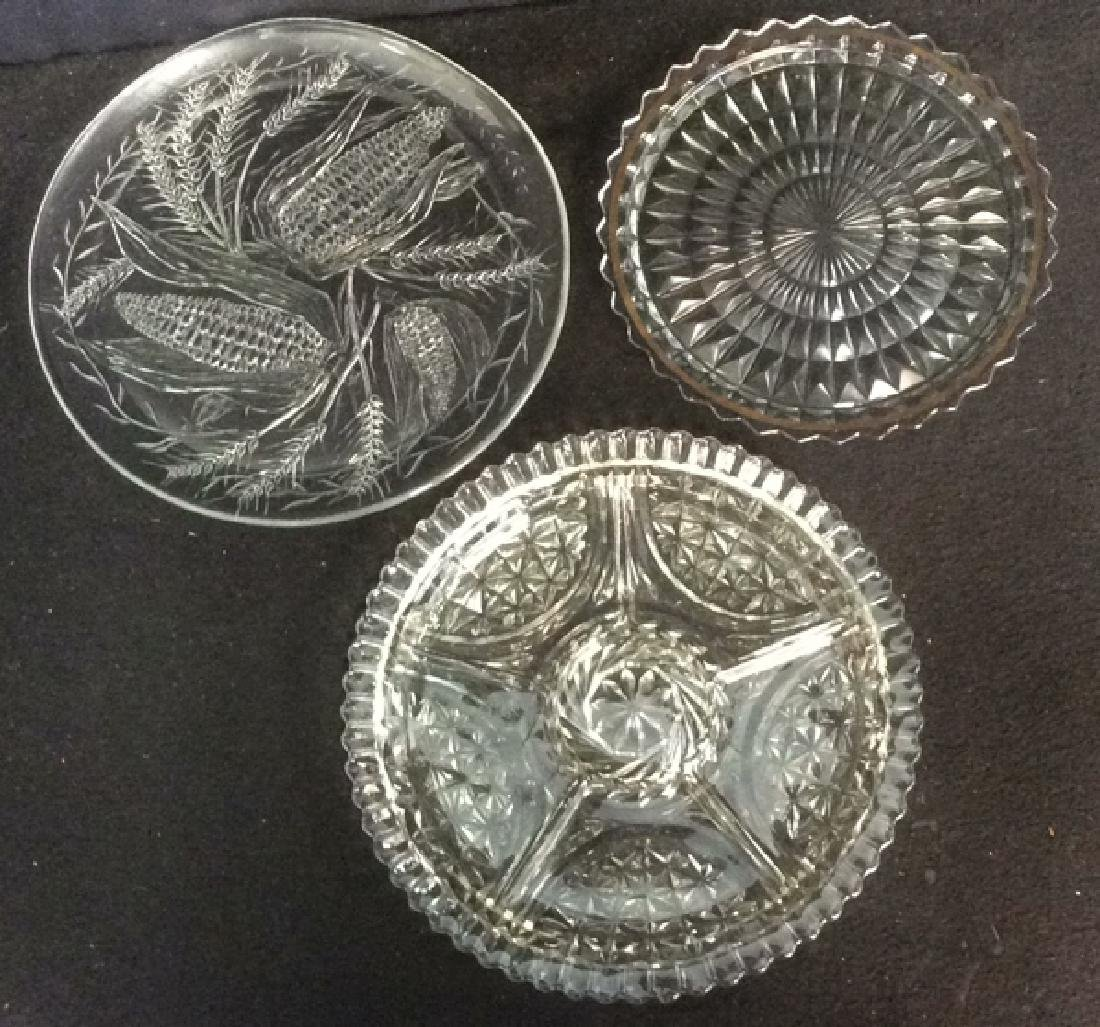 Group of 3 Pressed Glass Serving Plates All are clear