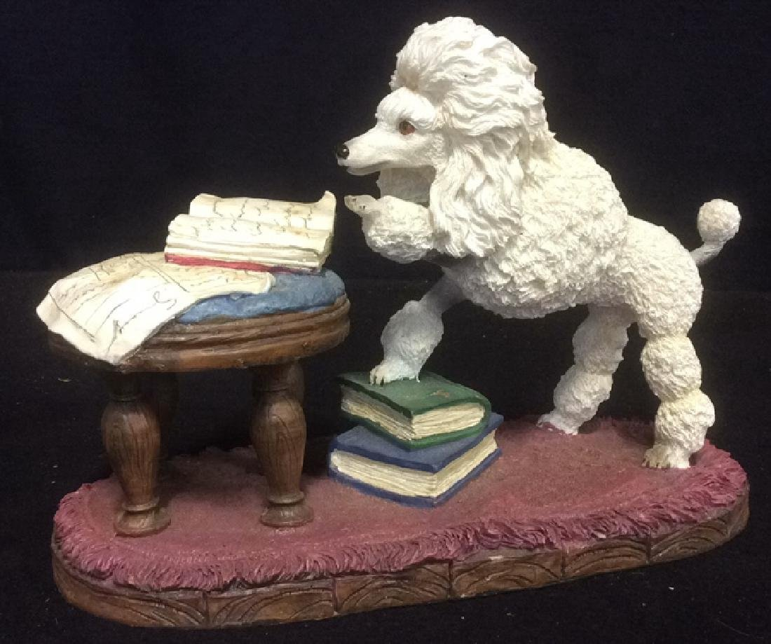 Poodle Reading Figurine Plaster Ceramic Whimsical white