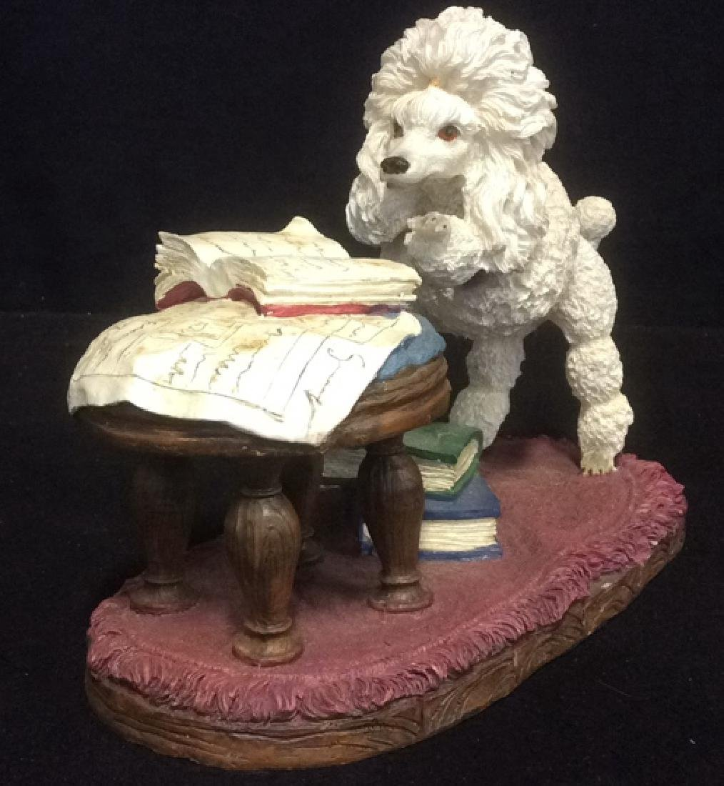 Poodle Reading Figurine Plaster Ceramic Whimsical white - 2