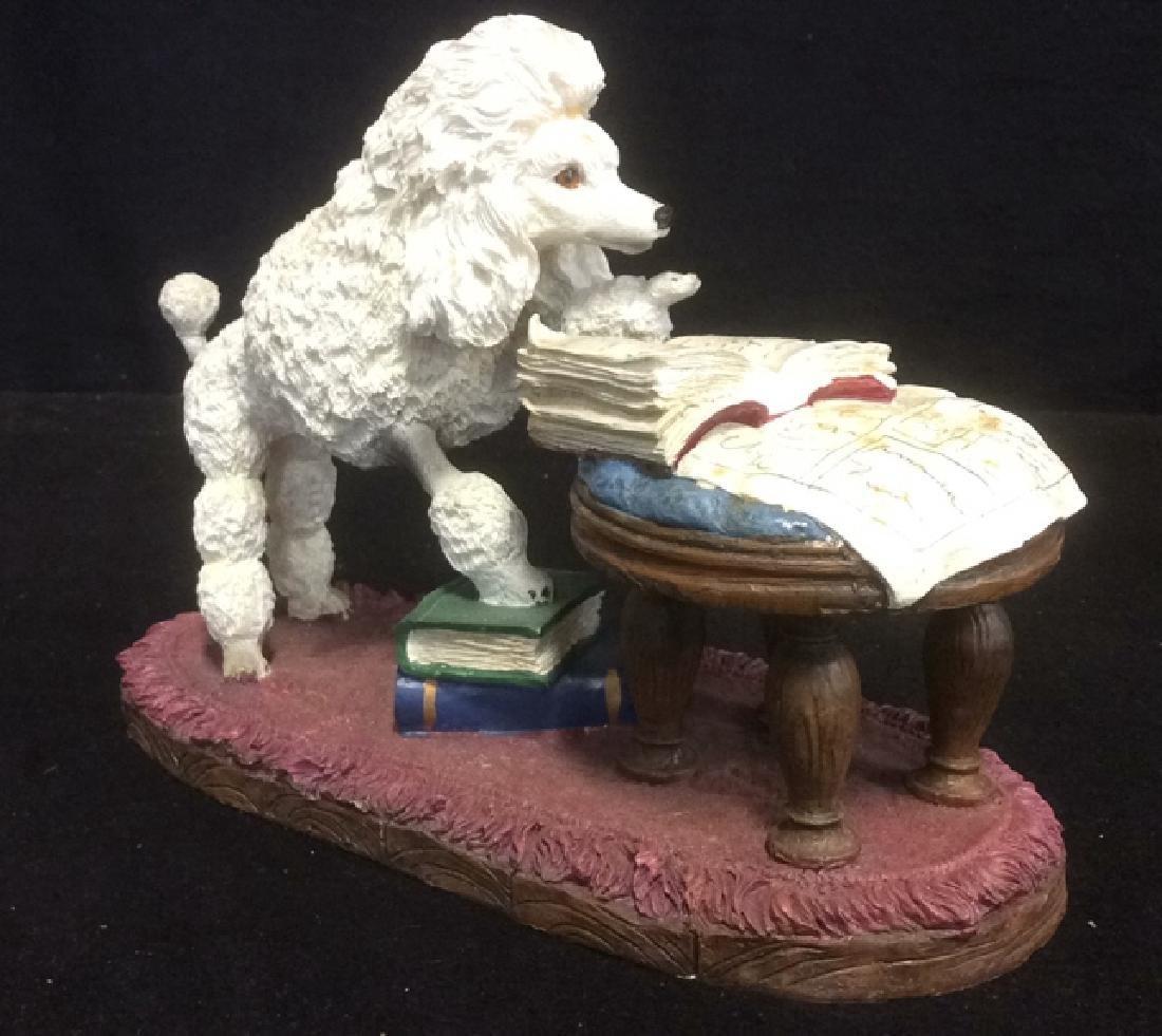 Poodle Reading Figurine Plaster Ceramic Whimsical white - 3