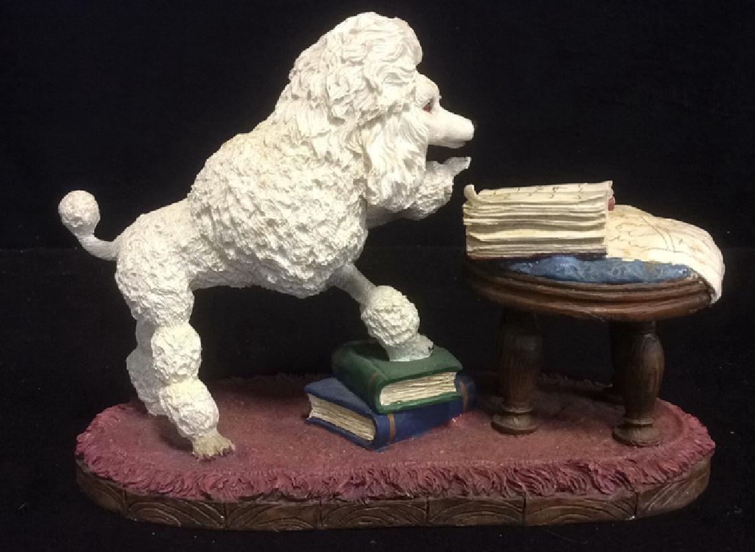 Poodle Reading Figurine Plaster Ceramic Whimsical white - 4