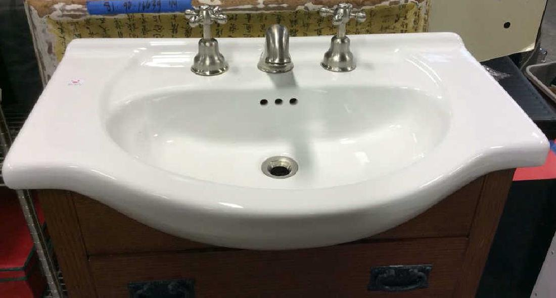 Porcelain sink  with fixtures set in Vanity Cabinet - 3