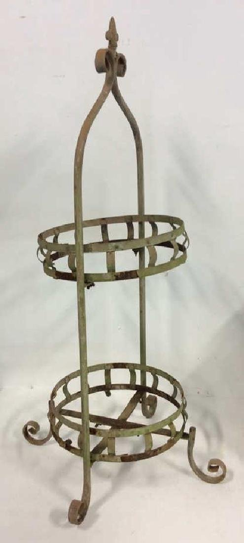 2 Tiered Vintage Metal Plant Stand Scrolled feet