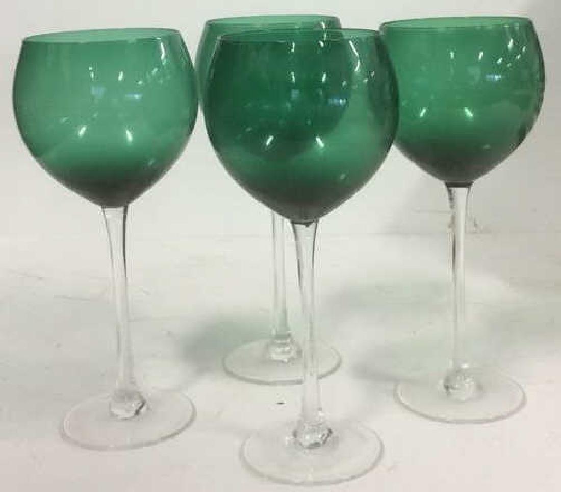 Green Glass Long Stemmed Wine Glasses Set of 4 Emerald