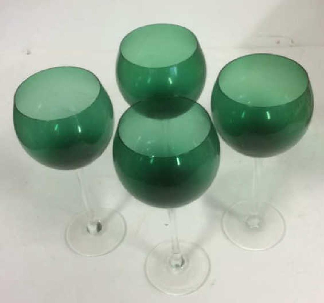 Green Glass Long Stemmed Wine Glasses Set of 4 Emerald - 2