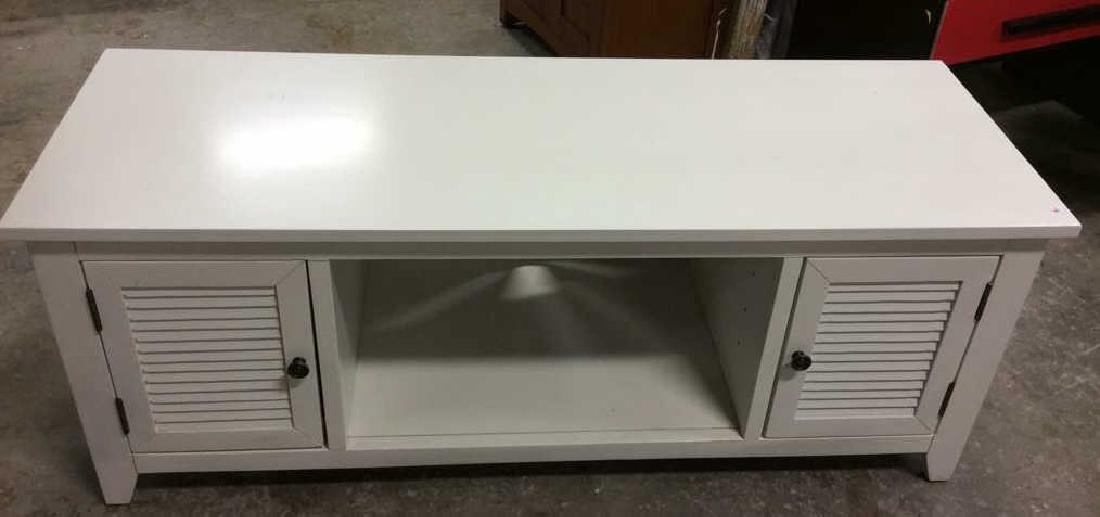 White wood TV Console with Cabinets Doors on each side