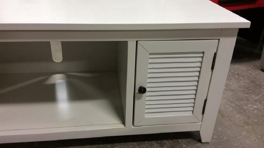 White wood TV Console with Cabinets Doors on each side - 3